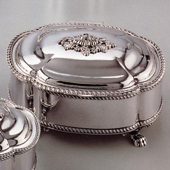 Portagioie ovale con piedini - Portagioie argento ...